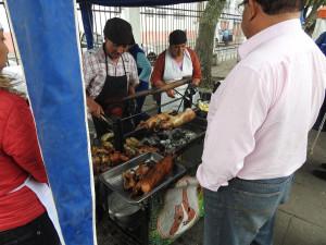 spécialité locale : le Cuye (prononcez 'Couille'), sorte de cochon d'Inde